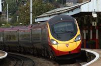 A Glasgow - Euston Pendolino tilts through Penrith as it heads south on 10 September 2011.<br> <br><br>[John McIntyre&nbsp;10/09/2011]