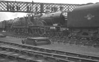 Preserved Midland Compound 4-4-0 no 1000 stands in the sidings alongside Derby Works in August 1960.<br><br>[K A Gray&nbsp;27/08/1960]