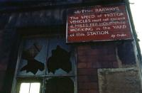 A sign near the entrance to the former High Street goods station in Glasgow, recorded during demolition in March 1985. [See image 21485]  <br><br>[Mark Dufton&nbsp;17/03/1985]