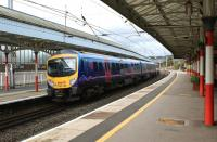 A TransPennine Manchester Airport - Edinburgh service calls at Penrith on 10 September 2011.<br> <br><br>[John McIntyre&nbsp;10/09/2011]