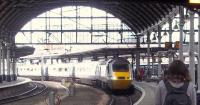 A northbound 'East Coast' HST arrives at Newcastle Central on 11 September. <br><br>[Andrew Wilson&nbsp;11/09/2011]