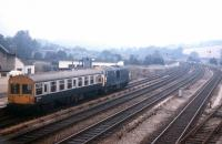 An eastbound inspection saloon about to leave Totnes in the summer of 1971.<br> <br><br>[David Spaven&nbsp;//1971]