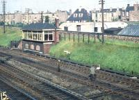 Removing a trespasser from the East Coast Main Line alongside Craigentinny signal box in September 1958. (<I>Presumably on the lookout for 60021</I>) (Editors note: Please [see image 29099] to reduce e-mails!)<br><br>[A Snapper (Courtesy Bruce McCartney)&nbsp;27/09/1958]