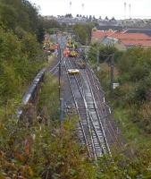 The ECML closed for engineering work at Abbeyhill Junction on 17 September, with local services replaced by buses and long distance trains diverted.<br><br>[Bill Roberton 17/09/2011]