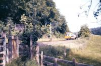 A DMU approaching Home Farm Crossing near Eggesford in July 1986.<br><br>[Ian Dinmore&nbsp;/07/1986]