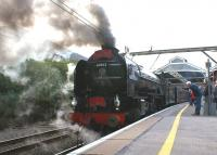 60163 <I>Tornado</I> waits patiently at Preston station's platform 6 on 21 September 2011 with <I>'The Caledonian Tornado'</I> railtour on its way from Crewe to Glasgow Central.<br><br>[John McIntyre&nbsp;21/09/2011]