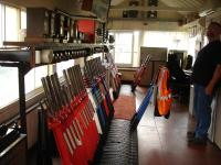 Looking along the interior of Tondu signal box in September 2011, where most levers are still in operation to support four lines radiating from Tondu, including the rarely used line from Margam and that to Ogmore Vale and Pontycymer. Levers have been pulled for the incoming 15.46 service from Bridgend to Maesteg.<br><br>[David Pesterfield&nbsp;14/09/2011]