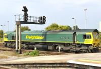Freightliner 66601 <I>The Hope Valley</I> photographed at Westbury station in August 2011.<br><br>[Peter Todd&nbsp;03/08/2011]