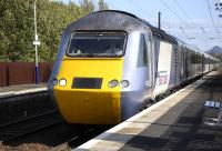 The 12.30 Edinburgh - Newcastle via Carlisle HST shuttle (operating because of weekend closure at Abbeyhill Junction) passing through Kingsknowe station on 25 Sepember with 43318 leading.<br> <br> <br><br>[Bill Roberton&nbsp;25/09/2011]