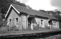 Not at all typical of West Highland Line station buildings, Beasdale (seen here in 1966) was opened as a private station for nearby Arisaig House when the Mallaig Extension began operations on 1st April 1901. However, according to John Thomas in 'The West Highland Railway' (1965), Beasdale station <i>catered for the public from its opening</i>. <br> <br><br>[David Spaven //1966]