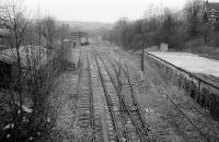 The disused yard at Wirksworth on 17 February 1992, three years after the end of freight traffic. Since transformed by the Ecclesbourne Valley Railway [see image 40126].<br> <br><br>[Bill Roberton&nbsp;17/02/1992]
