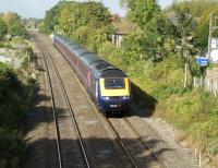 A First Great Western HST heads for Paddington at speed on 22 September. The train is pssing the site of Steventon station (closed 1964) to the west of Didcot.<br><br>[John McIntyre&nbsp;22/09/2011]