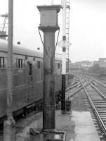 The remains of a Glasgow and South Western Railway water column surviving on the platform at the north end of Ayr station in 1973.<br><br>[Bill Roberton&nbsp;//1973]