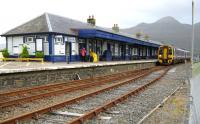 The station at Kyle of Lochalsh, the building redolent of WHR station design, with a DMU waiting to depart with a service to Inverness on 21 September.<br><br>[Alistair MacKenzie&nbsp;21/09/2011]