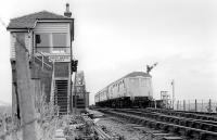Forth Bridge North signal box being passed by a 'hybrid' dmu in July 1977.<br> <br><br>[Bill Roberton&nbsp;/07/1977]