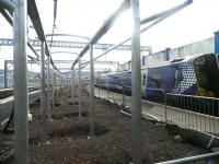Work in progress on the new canopies at Gourock station on 30 September 2011.<br><br>[John Yellowlees&nbsp;30/09/2011]