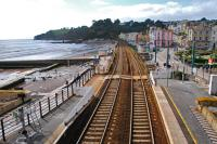 Looking west from the station footbridge at Dawlish on 12 September 2011.<br><br>[Ewan Crawford&nbsp;12/09/2011]