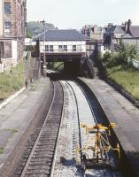 View east along the platforms at Morningside Road station in the spring of 1971, with Blackford Hill in the background.<br><br>[Bill Jamieson&nbsp;//1971]