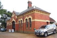 The 1888 station building at Maldon, on the Victorian Goldfields Railway, at the terminus of the branch from Castlemaine. Photographed on 27 May 2009.<br><br>[Colin Miller&nbsp;27/05/2009]
