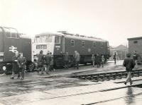 First generation AC electric locomotive no 84005 (formerly E3040), one of a batch of 10 built by NBL in 1960, seen at an open day at Eastfield in the early seventies.<br><br>[Ken Browne&nbsp;//]