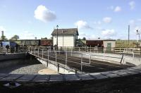 Some final touches being put to the new turntable at Quorn on the Great Central Railway on 6 October 2011, in preparation for its formal commissioning two days later.<br><br>[Peter Todd&nbsp;06/10/2011]