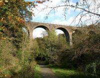 Looking up at Camps Viaduct on 10 October from the footpath on the west side of the River Almond. View is north east [see image 35972]<br><br>[John Furnevel&nbsp;10/10/2011]
