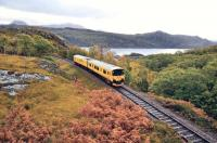 Between heavy showers on 11 October 2011, Network Rail Track Assessment & Recording Unit No.950001 descends Beasdale Bank on its way back to Fort William.<br> <br><br>[John Gray 11/10/2011]