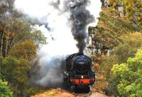The noise can be heard for miles around as Black 5 no 44871 emerges from the first tunnel on the climb up Beasdale Bank on 13 October. The locomotive is at the head of <I>The Jacobite</I> on its way to Mallaig.<br> <br><br>[John Gray //]