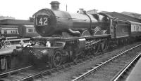 Castle class 4-6-0 no 5079 <I>Lysander</I> getting ready to leave Paddington in 1959 with the <I>'Torbay Express'</I>.<br><br>[K A Gray&nbsp;//1959]
