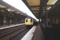 A DMU boarding at Warrington Central in August 1988.<br><br>[Ian Dinmore&nbsp;/08/1988]