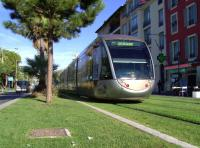 A tram bound for Las Planas on the Nice tramway system on 10 October 2011. The line was opened in November 2007.<br><br>[Brian Smith&nbsp;10/10/2011]