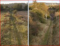The former Glencorse branch on 16 October 2011. The left picture shows the view west from the A6106 towards Gilmerton along the last stub of track, with the remains of the branch having been lifted earlier this year [see image 32996]. The picture on the right shows the view in the opposite direction towards the south end of Millerhill Yard. This area was latterly refurbished and resignalled in connection with rounding manoeuvres for a short-lived car service to/from Bathgate. The plan is for the Borders Railway to cross the former branch in this area. No need for a bridge then...<br> <br><br>[Bill Roberton&nbsp;16/10/2011]