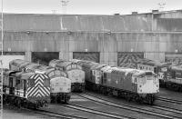 The east end of Eastfield shed on 7 March 1992, dominated by classes 08, 26 and 37.<br><br>[Bill Roberton&nbsp;07/03/1992]