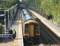 A South West Trains Waterloo to Salisbury service calls at Overton station, Hampshire, on 23 September 2011. <br><br>[John McIntyre&nbsp;23/09/2011]
