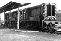 Yard shunters lined up at the fuelling point alongside Carlisle Kingmoor diesel depot during a British Rail open day on 22 May 1971. Standing nearest the camera is D4141, built at Horwich in 1962. This locomotive, renumbered 08911 under TOPS, became the resident shunting locomotive at the National Railway Museum in York and was given the name <I>Matey</I>.<br><br>[John Furnevel&nbsp;22/05/1971]