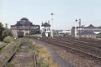 View north at Gorgie Junction in the late spring of 1971 with Gorgie East station behind the camera. The line to the left of the signal box turns west to join the E&G at Haymarket West Junction [see image 36773] with that to the right running to Haymarket Central Junction.<br><br>[Bill Jamieson&nbsp;//1971]