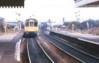 A DMU leaving Miles Platting in September 1987. The station was finally closed to passengers in May 1995.<br><br>[Ian Dinmore&nbsp;19/09/1987]