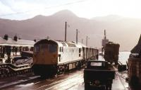 A Type 2 marshalling a goods train at Kyle of Lochalsh in August 1972.<br><br>[Colin Miller&nbsp;/08/1972]