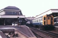 A BR Southern Region 4-BIG unit stands at Lewes station in November 1988. <br><br>[Ian Dinmore&nbsp;/11/1988]