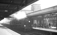 The 10.30am Waterloo - Bournemouth West/Wemouth service runs into Southampton Central on 25 September 1963. The locomotive in charge is Bulleid 'Merchant Navy' Pacific no 35020 <I>Bibby Line</I>.<br><br>[K A Gray&nbsp;25/09/1963]