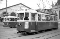 Old-style tram no 172, operating on the streets of Bern, Switzerland, in July 1962. The tram is at the interchange with the SZB terminus. [See image 36392]<br><br>[Colin Miller&nbsp;/07/1962]