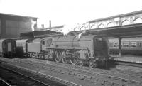 72007 <I>Clan Mackintosh</I> (minus nameplates) arrives at Carlisle on 31 July 1965 with the 1.26pm Glasgow Central - Morecambe Promenade, which had been routed via Kilmarnock and Dumfries. The Kingmoor based 'Clan' Pacific had less than 5 months to go before eventual withdrawal by BR.<br><br>[K A Gray&nbsp;31/07/1965]