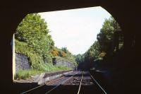 The remains of Craiglockhart station on the Edinburgh 'sub' in the spring of 1971. View north from underneath Colinton Road bridge.<br><br>[Bill Jamieson&nbsp;//1971]