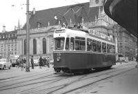 A 'Modern' tram stands at the interchange with the terminus of the SZB in Bern in the summer of 1962. [See image 36379]<br><br>[Colin Miller&nbsp;/07/1962]