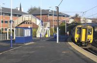 A Northern DMU on a Morpeth - Metro Centre stopping service, formed by 156443, runs into Manors station on 12 November 2011.<br><br>[Bill Roberton&nbsp;12/11/2011]