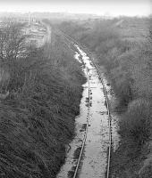 Site of Pumpherston oilworks. View north back towards the junction with the main line in January 1978 [see image 36408].<br><br>[Bill Roberton&nbsp;/01/1978]