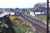 Looking over the remains of Gorgie East Station (closed September 1962) in the late Spring of 1971. View is north towards Gorgie Junction [see image 4302].<br><br>[Bill Jamieson&nbsp;//1971]