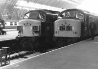 A pair of 'Peaks' standing at the buffer stops at St Pancras during the afternoon of 5 September 1969, after bringing in trains off the Midland main line.<br><br>[John Furnevel&nbsp;05/09/1969]