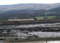 'Leaf Train' waiting in Craigendoran Loop is passed by a SPT train heading for Helensburgh.<br><br>[Beth Crawford&nbsp;19/11/2011]