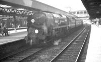 Bulleid Merchant Navy Pacific no 35008 <I>Orient Line</I>, photographed shortly after arrival at Southampton Central on 25 September 1963 at the head of an up parcels train.<br><br>[K A Gray&nbsp;25/09/1963]